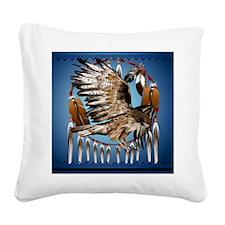 DreamcatcherFlyingHawk Square Canvas Pillow