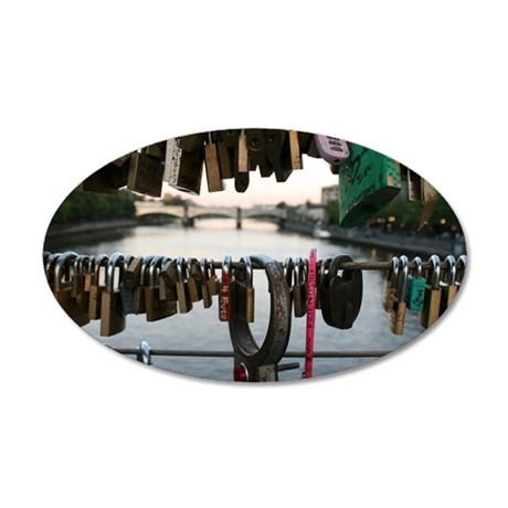Melbourne Love Locks Bridge 20x12 Oval Wall Decal