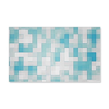 Light Blue Squares  20x12 Wall Decal