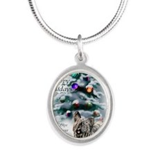 skyeterrierchristma card Silver Oval Necklace