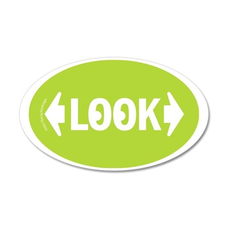 Look Green Crosswalk Sticker 35x21 Oval Wall Decal