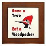 Funny Woodpecker Framed Tile