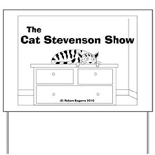 tshirt design cat stevenson cartoon bw Yard Sign