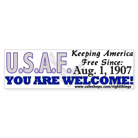 USAF &quot;Keeping America Free&quot; Bumper Sticker