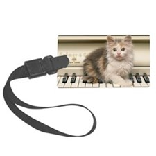 piano kitten panel print Luggage Tag