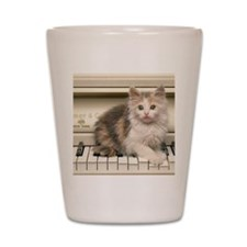 piano kitten panel print Shot Glass