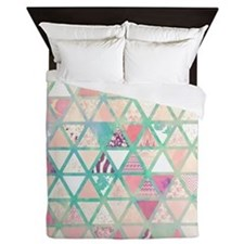 Pink Turquoise Abstract Floral Triangl Queen Duvet