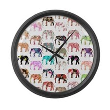 Girly Whimsical Retro Floral Elep Large Wall Clock