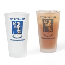 DUI - 77th armor rgt with text Drinking Glass