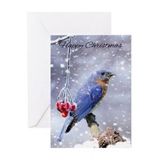 Bluebird In The Snow Winter Holiday Greeting Card