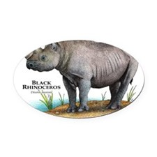Black Rhinoceros Oval Car Magnet