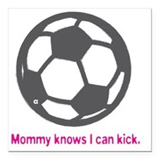 "Soccer_Kicks_Pink Square Car Magnet 3"" x 3"""