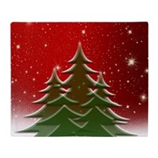 Christmas Trees with Stars Throw Blanket