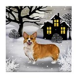 WELSH CORGI DOG SNOWY DAY Tile Coaster