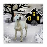 BULL TERRIER SNOWY DAY Tile Coaster