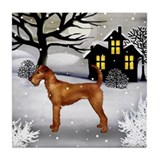 IRISH TERRIER DOG SNOWY DAY Tile Coaster