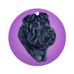 Black Shar Pei Ornament (Round)