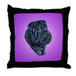 Black Shar Pei Throw Pillow