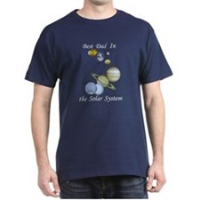 Best Dad in the Solar System Navy T-Shirt
