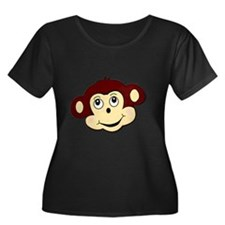monkeyma Women's Plus Size Dark Scoop Neck T-Shirt
