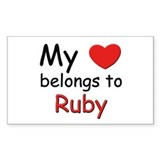My heart belongs to ruby Rectangle Decal