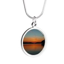 calendar chesapeake sunrise Silver Round Necklace