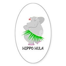 Hippo Hula Oval Decal