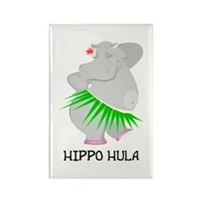 Hippo Hula Rectangle Magnet