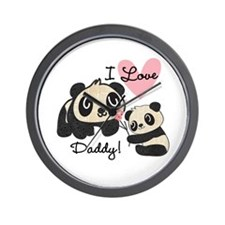 Pandas I Love Daddy Wall Clock