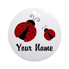 Ladybugs Red Personalized Ornament (Round)