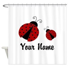 Ladybugs Red Personalized Shower Curtain