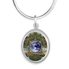 Earth-Ascension-Peace-Mandala Silver Oval Necklace
