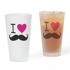 I Heart Mustache Drinking Glass