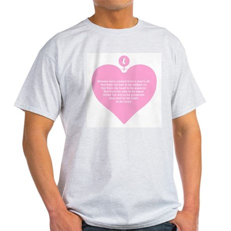 Pink Heart Ash Grey T-Shirt