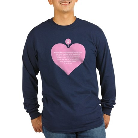 Pink Heart Long Sleeve Dark T-Shirt