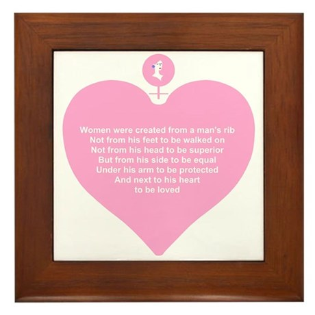 Pink Heart Framed Tile