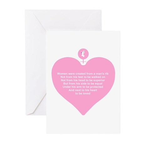 Pink Heart Greeting Cards (Pk of 10)