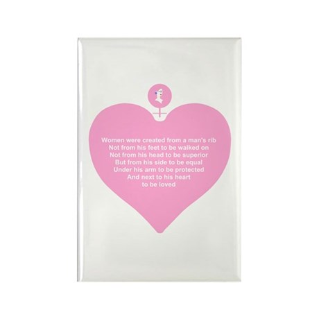 Pink Heart Rectangle Magnet (100 pack)