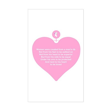 Pink Heart Rectangle Sticker