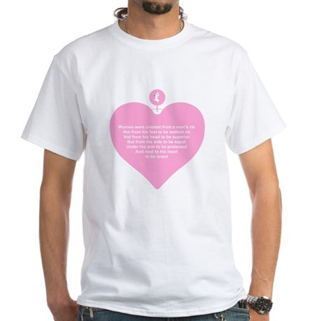 Pink Heart White T-Shirt