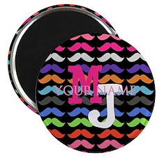 Custom Monogram Mustache Pattern Magnets