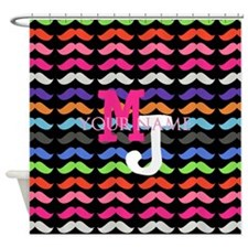 Custom Monogram Mustache Pattern Shower Curtain