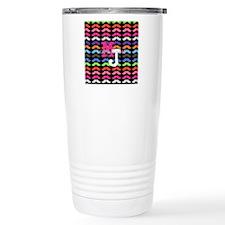 Custom Monogram Mustache Pattern Travel Mug