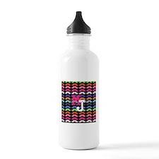 Custom Monogram Mustache Pattern Water Bottle