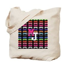 Custom Monogram Mustache Pattern Tote Bag