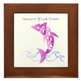 Cortney pink dolphin Framed Tile