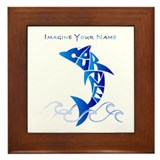 Cortney blue dolphin Framed Tile