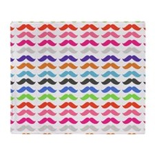 Girly Colorful Pattern Mustaches Throw Blanket