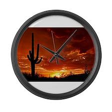 Saguaro Sunset-2 Large Wall Clock