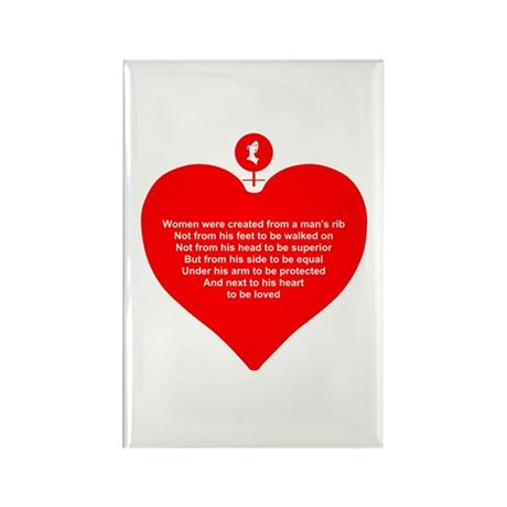 Red Heart Rectangle Magnet (100 pack)